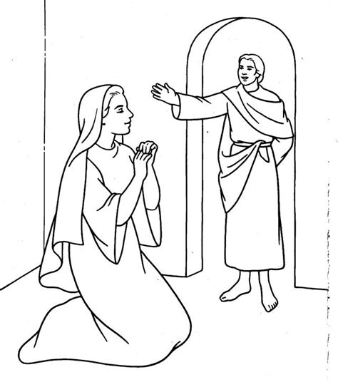 angel gabriel appears mary coloring page