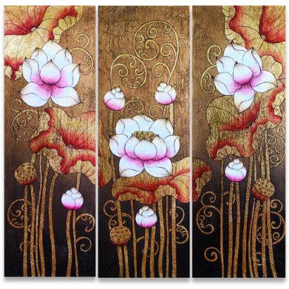 metal sculpture lotus pond hotel decoration home decor famous flower painting ancient golden thai lotus royal