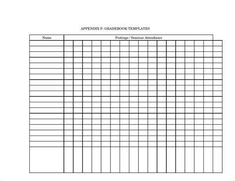 gradebook template 4 printable gradebook template procedure template sle