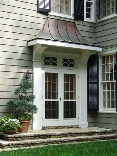 copper awning over door buckhead renovation 06 side door pent roof detail by