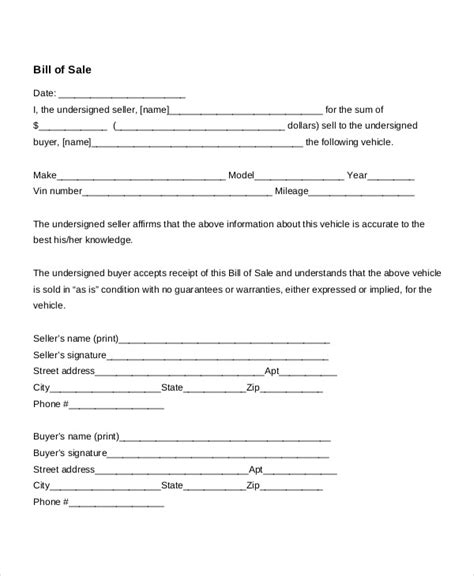 Bill Of Sale For Car Template Doliquid Docs Bill Of Sale Template
