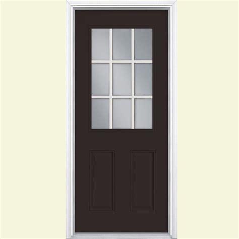 32 X 73 Exterior Door Masonite 32 In X 80 In 9 Lite Painted Steel Prehung Front Door With Brickmold 40987 The Home