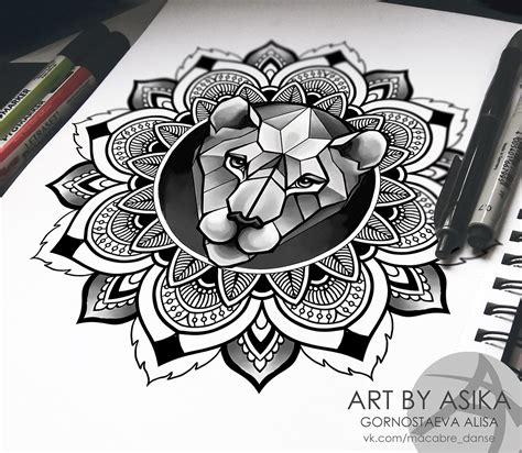 lion in mandala tattoo sketch ornamental dotwork on behance