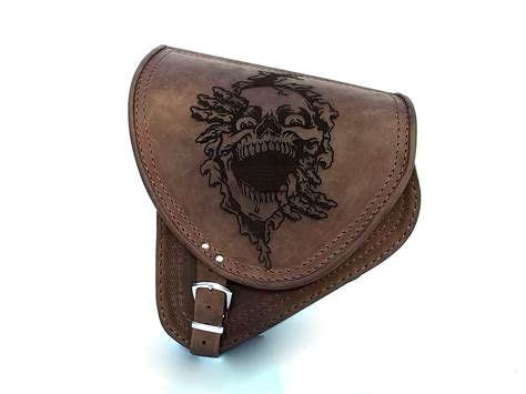 swing arm saddle bag brown leather swingarm skull single pannier saddle bag