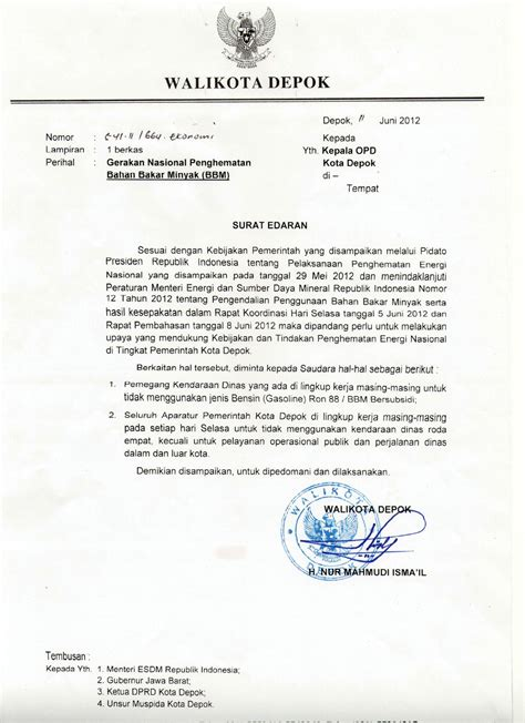 surat edaran gerakan nasional penghematan bbm portal