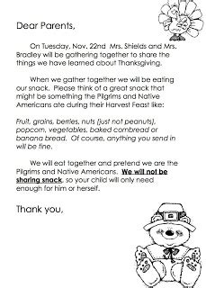 Parent Letter For Thanksgiving Feast Giggle And Squeals Our Thanksgiving Feast