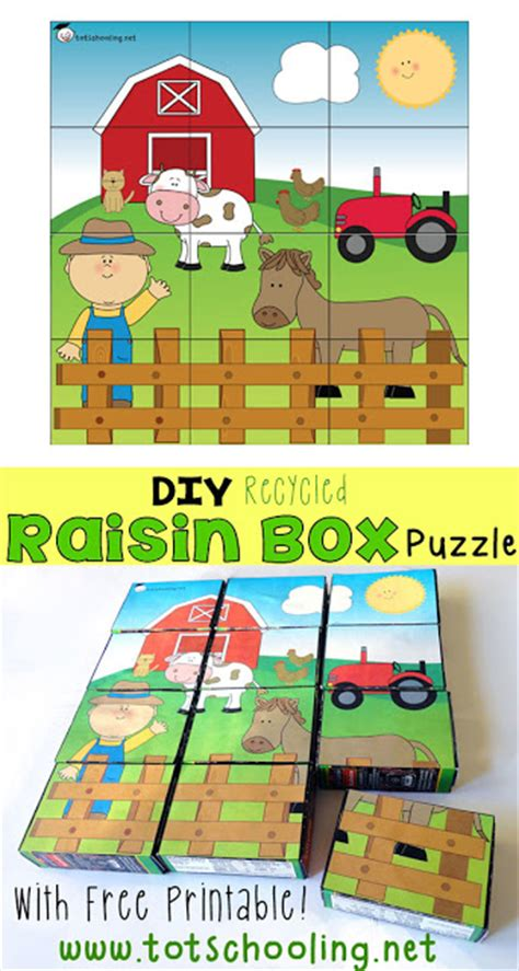 diy recycled raisin box puzzle totschooling toddler