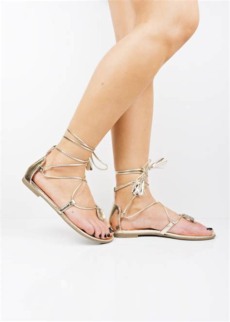 sandals with laces bg82 gold metallic lace up sandals at shoelace ie