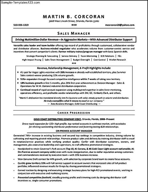 Resume Exles For Sales Territory Territory Sales Manager Resume