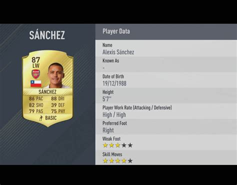 alexis sanchez stats 17 18 alexis sanchez fifa 17 ratings top premier league