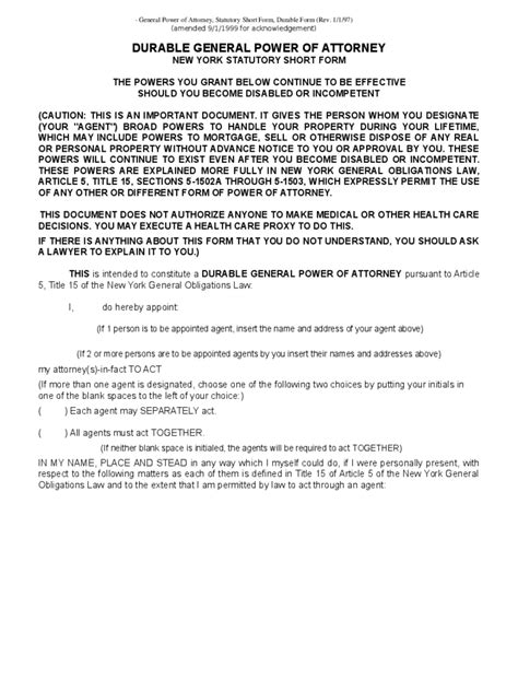 General Power Of Attorney Form Power Of Attorney Template Ny