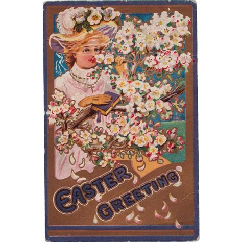 Vintage Easter Figurine Shop Collectibles - antique easter postcard in easter bonnet