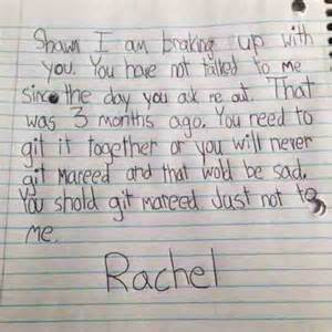 Break Letter King George little girl called rachel writes note to break up with boyfriend shawn