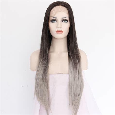 brown long hair with grey aroung front handmade straight ombre grey synthetic lace front wig long