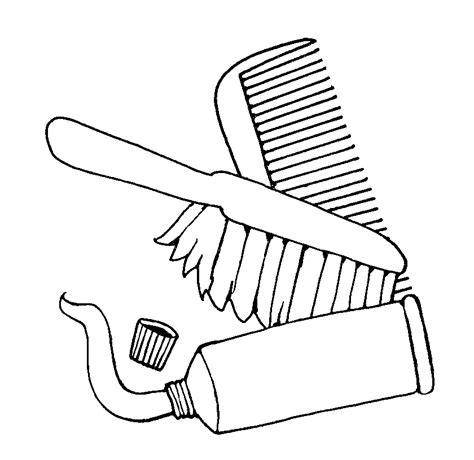 coloring page hair brush toothbrush clipart hair brush pencil and in color