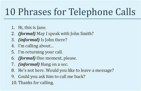 Useful Phrases For Informal telephone calls in and common phrases