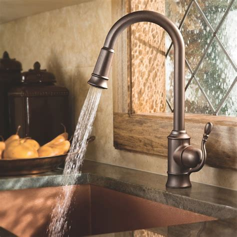 moen kitchen sinks and faucets moen s7208orb woodmere one handle high arc pulldown