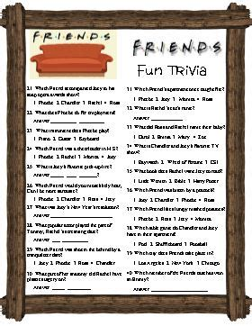 Or Question With Friends Friend S Trivia Covers A Tv Show That Has Been Popular For Many Years