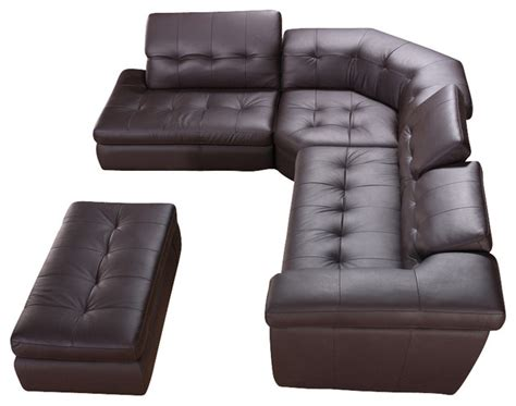 houzz sectional sofas brown tufted top grain italian leather sectional