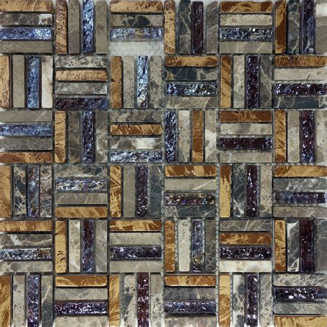 10sf brown natural stone iridescent glass pattern mosaic