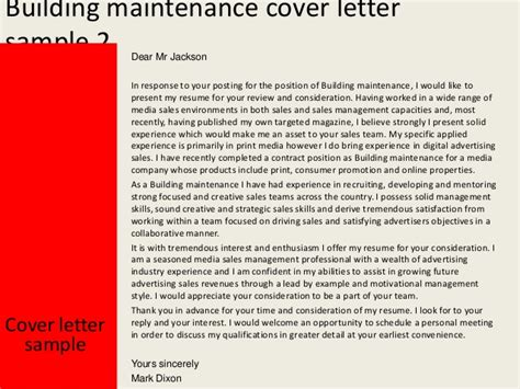 building a cover letter building maintenance cover letter