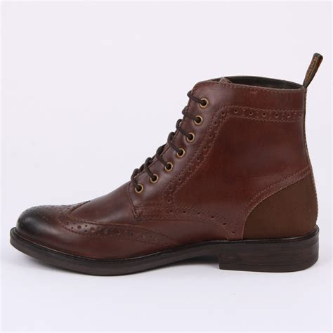 mens brown leather brogue boots barbour belsay mfo0184 br51 mens laced leather brogue