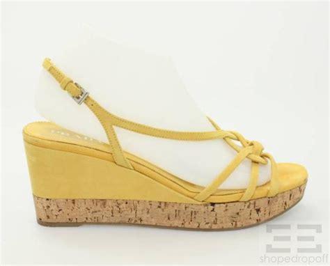 prada mustard yellow suede strappy cork wedge sandals size 38