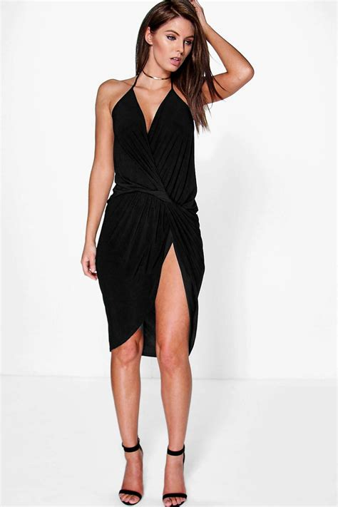 Womens Dressers boohoo womens devin strappy knot drape detail midi dress