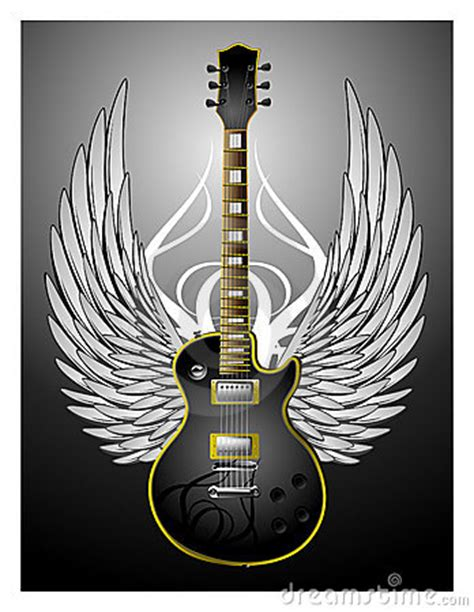black tribal guitar w wings royalty free stock photo