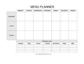 weekly menu planner with grocery list openoffice template