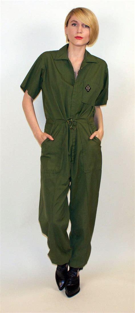 70s jumpsuit army green coveralls romper pantsuit pilot utilitarian utility retro tiny