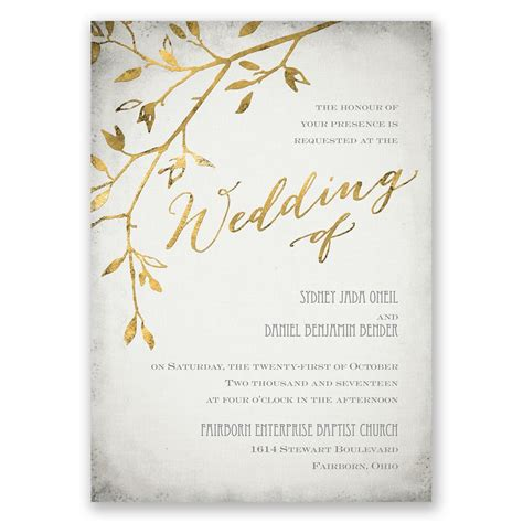 gold wedding cards templates leaves of gold invitation invitations by