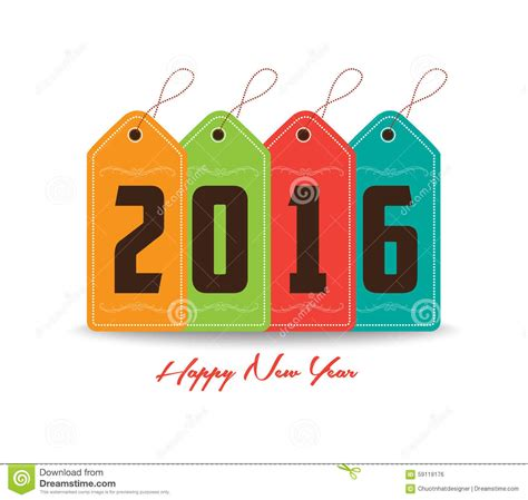 happy new year tags happy new year 2016 with tag colorful stock illustration