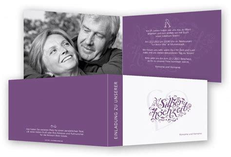 Einladungskarten Hochzeitstag by Einladung Silberhochzeit Feinekarten