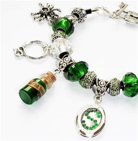 Handmade Charm Bracelets - handmade hogwarts slytherin house silver european charm