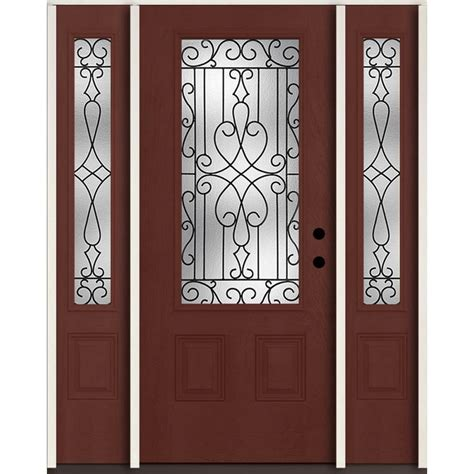 Shop Reliabilt Lite Patterned Glass Shop Reliabilt Wyngate 3 4 Lite Decorative Glass Left Inswing Wineberry Stained Fiberglass