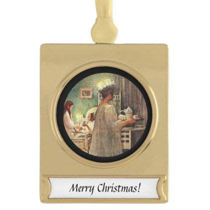 lucia day candles gold plated banner ornament merry christmas diy xmas present gift idea
