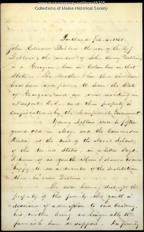 Letter Of Appointment Usna Maine Memory Network Letter Concerning Appointment To Naval Academy 1865