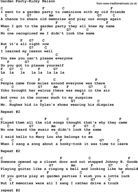 Gardening At Chords Country Garden Ricky Nelson Lyrics And Chords