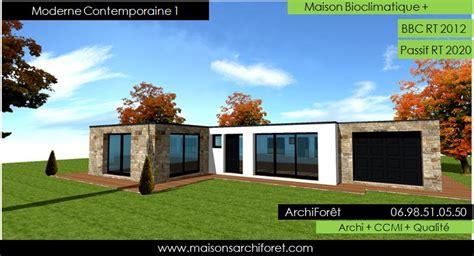 Plan Maison Plain Pied 50m2 Maison Ossature Bois Projet plan et photo maison plain pied en l ou plein pied en rez
