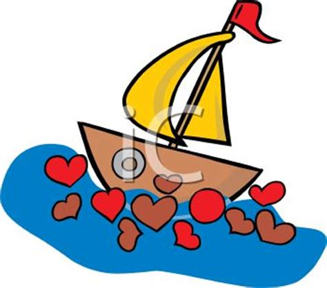 love boat cartoon valentine sailboat with hearts in the water royalty free