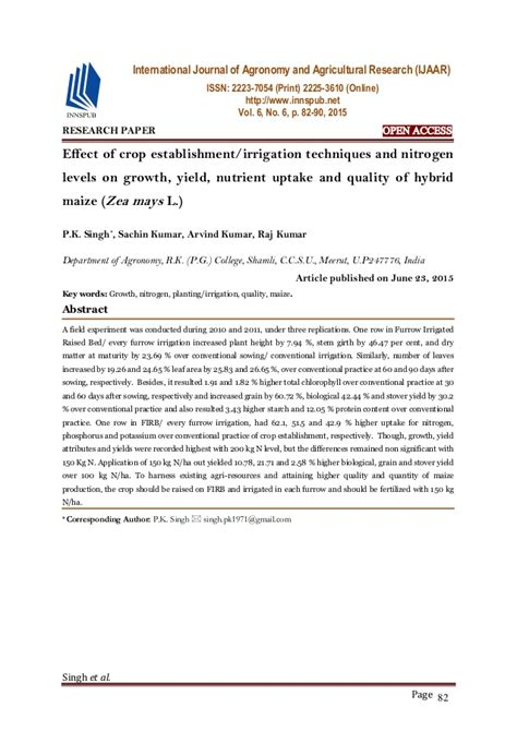 maize research papers effect of crop establishment irrigation techniques and