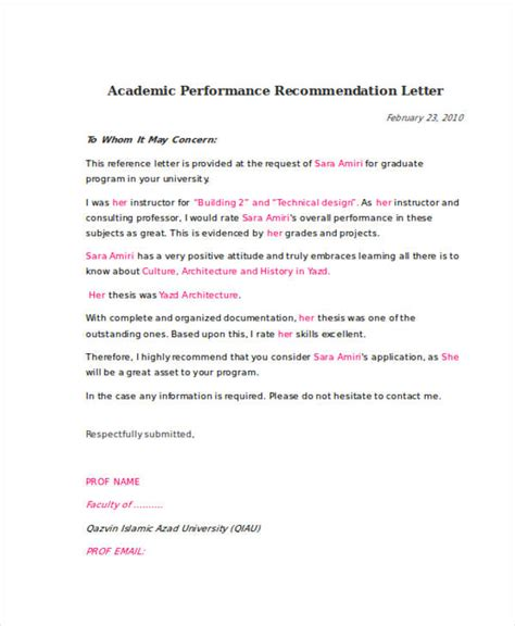 Recommendation Letter For Performance 79 Exles Of Recommendation Letters