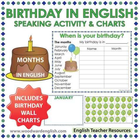5 Calendar Days Meaning Months Birthday Speaking Activity And Charts