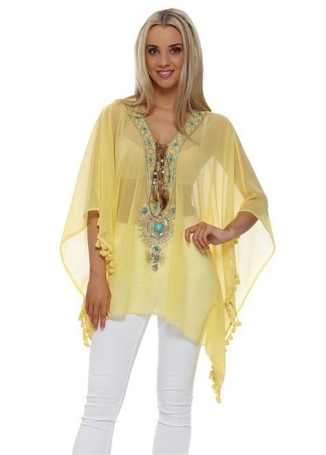 beaded kaftan tops my story yellow jewelled kaftan top