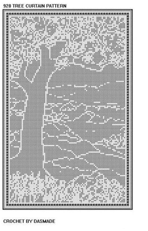 free filet crochet curtain patterns free filet crochet doily patterns 928 tree scene filet