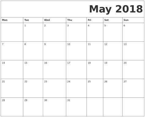 printable calendar starting monday may 2018 free printable calendar