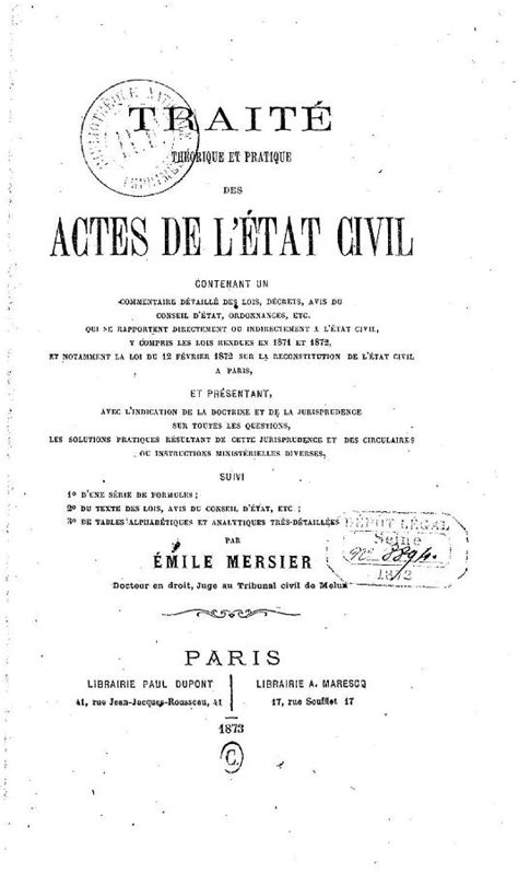 bureau de l 騁at civil histoire de l 201 tat civil en 2 232 me partie yvon