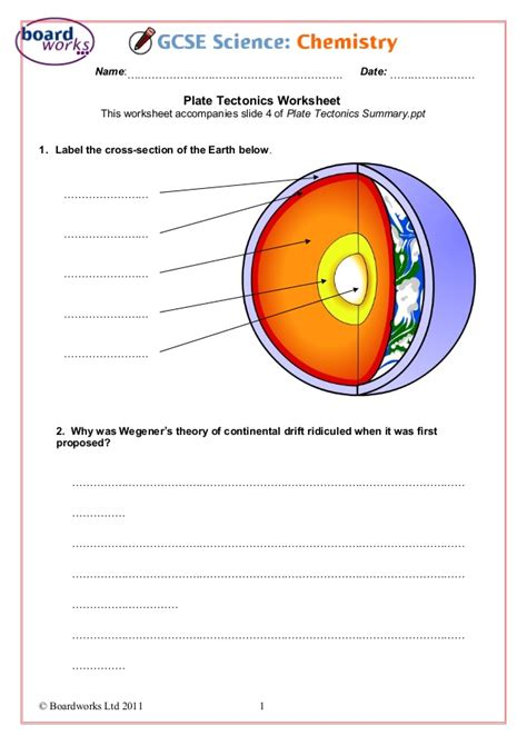 plate tectonics worksheet plate tectonics worksheet