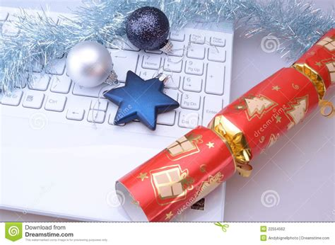 christmas cracker decorations images laptop with decorations stock photo image of technology cracker 22554562